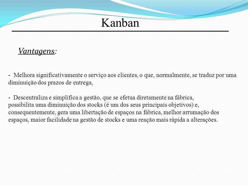 Kanban Vantagens: Melhora significativamente o serviço aos clientes, o que, normalmente, se traduz por uma diminuição dos prazos de entrega,