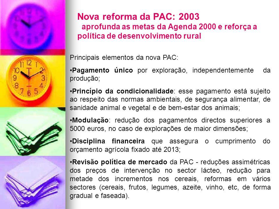 Nova reforma da PAC: 2003 aprofunda as metas da Agenda 2000 e reforça a política de desenvolvimento rural