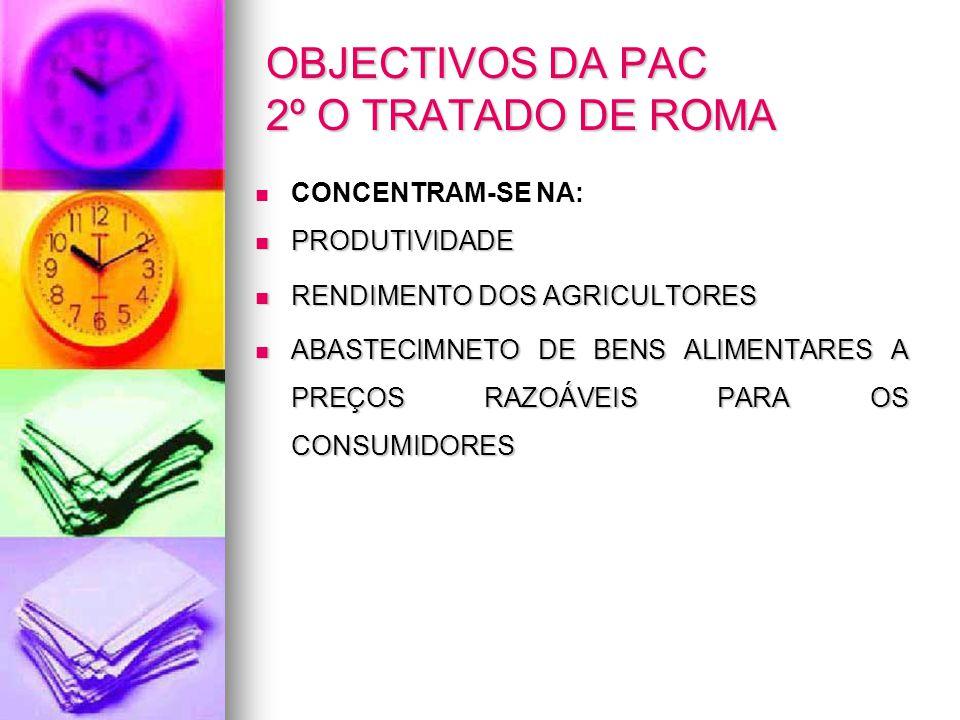 OBJECTIVOS DA PAC 2º O TRATADO DE ROMA