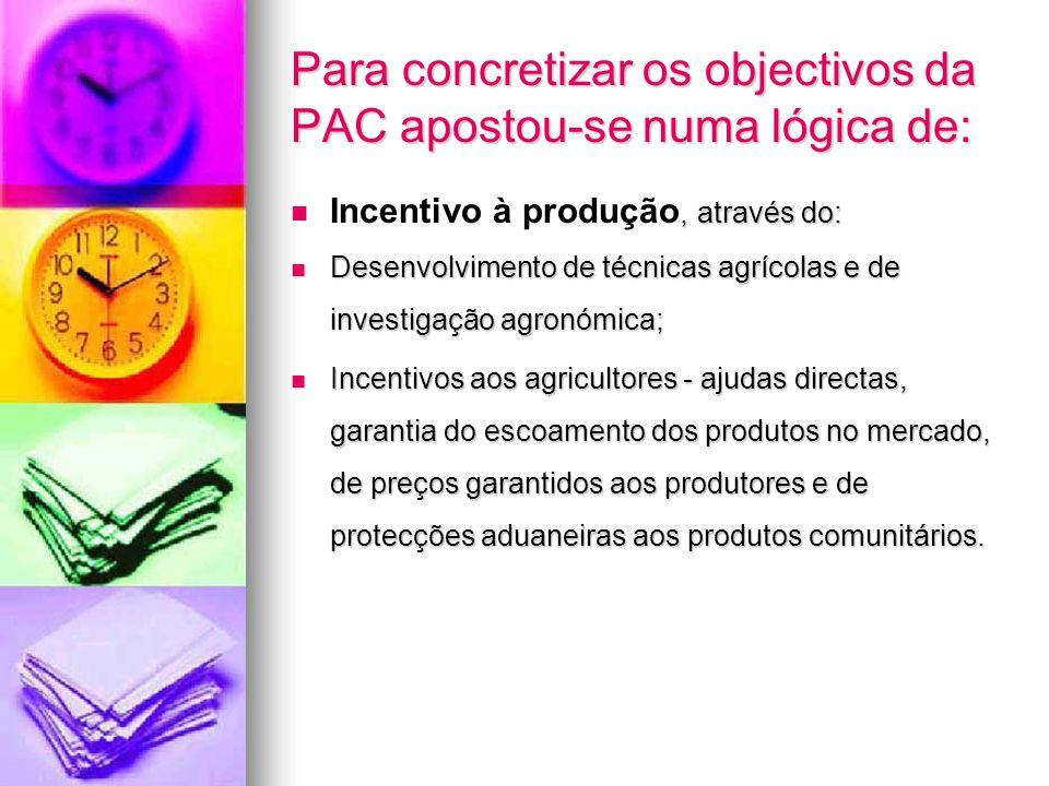 Para concretizar os objectivos da PAC apostou-se numa lógica de:
