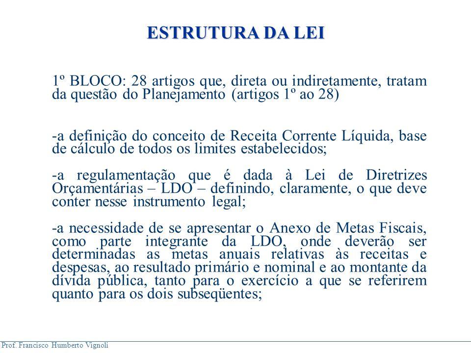 ESTRUTURA DA LEI 1º BLOCO: 28 artigos que, direta ou indiretamente, tratam da questão do Planejamento (artigos 1º ao 28)