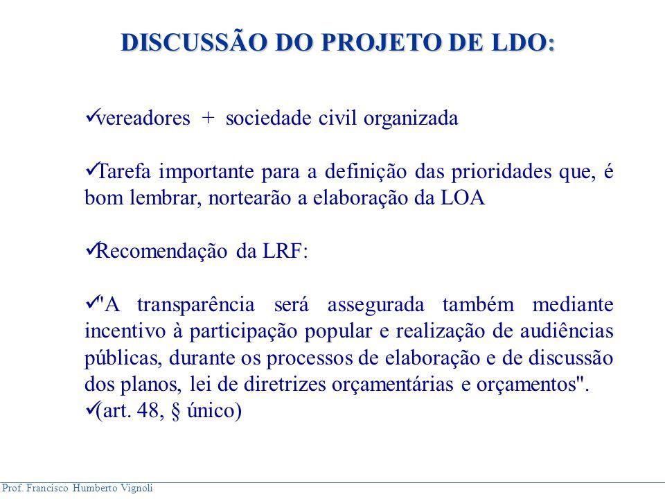 DISCUSSÃO DO PROJETO DE LDO: