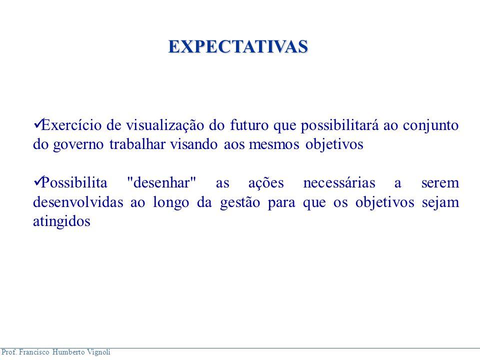 EXPECTATIVAS Exercício de visualização do futuro que possibilitará ao conjunto do governo trabalhar visando aos mesmos objetivos.