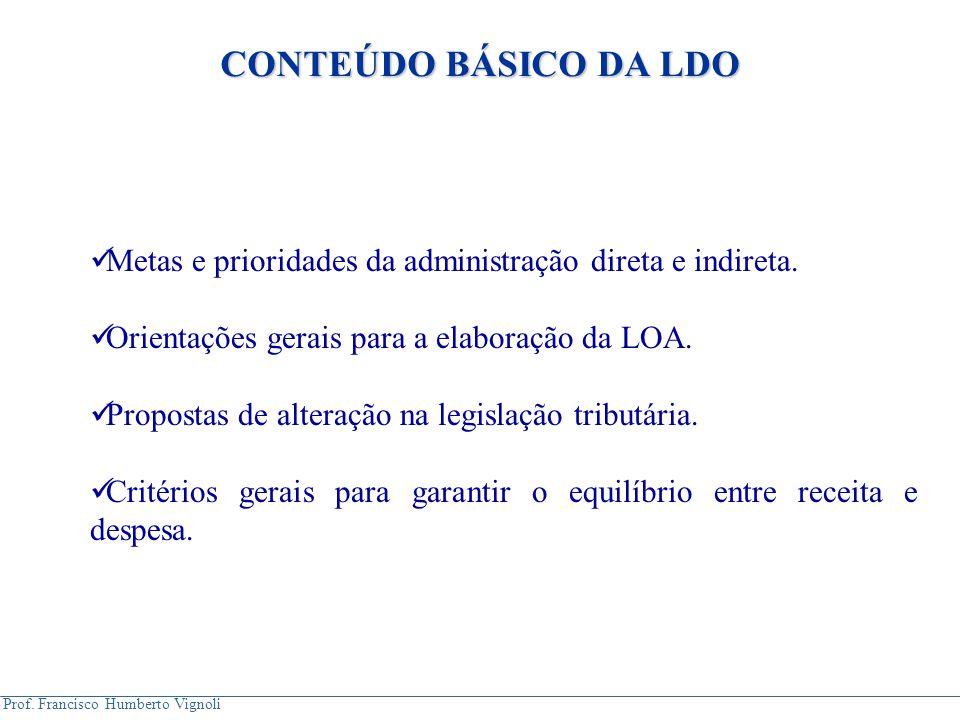 CONTEÚDO BÁSICO DA LDO Metas e prioridades da administração direta e indireta. Orientações gerais para a elaboração da LOA.