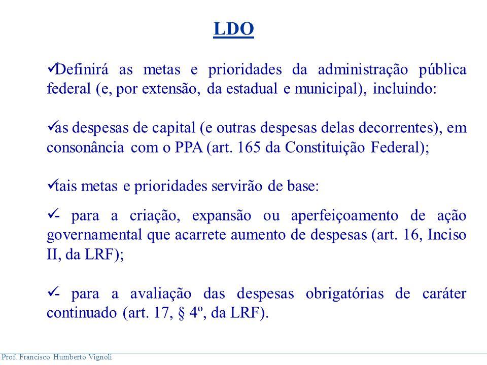 LDO Definirá as metas e prioridades da administração pública federal (e, por extensão, da estadual e municipal), incluindo: