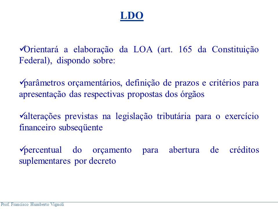 LDO Orientará a elaboração da LOA (art. 165 da Constituição Federal), dispondo sobre: