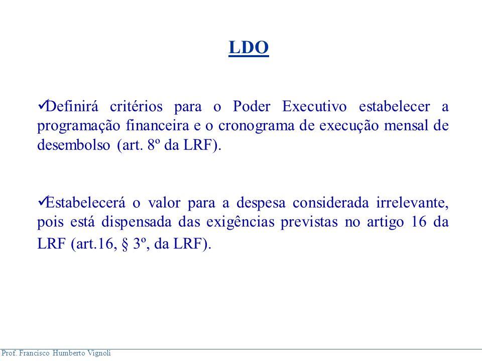 LDO Definirá critérios para o Poder Executivo estabelecer a programação financeira e o cronograma de execução mensal de desembolso (art. 8º da LRF).