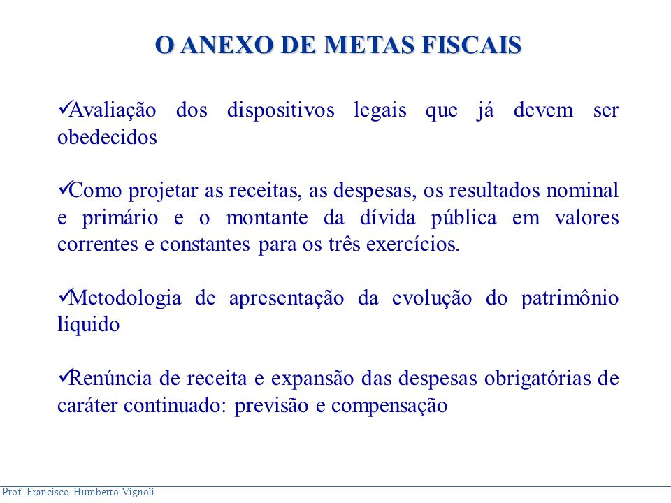 O ANEXO DE METAS FISCAIS
