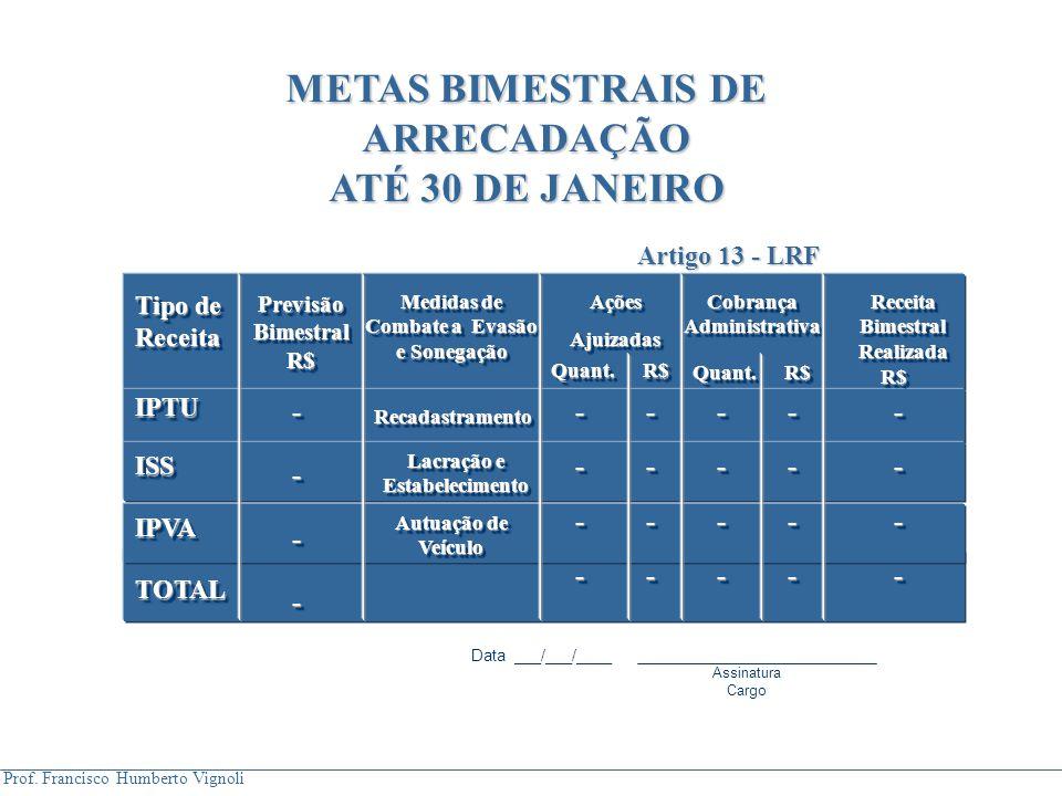 METAS BIMESTRAIS DE ARRECADAÇÃO ATÉ 30 DE JANEIRO