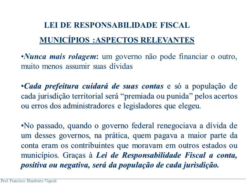 LEI DE RESPONSABILIDADE FISCAL MUNICÍPIOS :ASPECTOS RELEVANTES