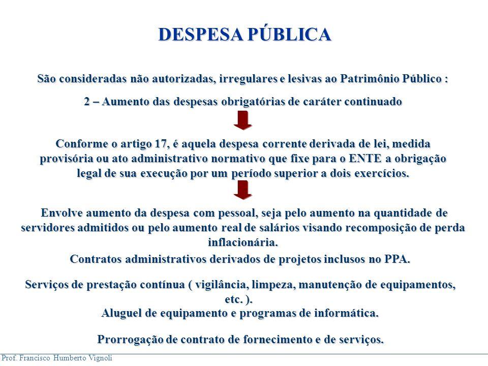 DESPESA PÚBLICA São consideradas não autorizadas, irregulares e lesivas ao Patrimônio Público :