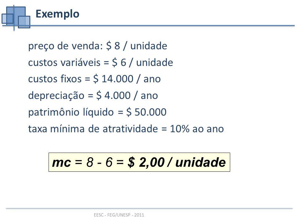 mc = 8 - 6 = $ 2,00 / unidade Exemplo preço de venda: $ 8 / unidade