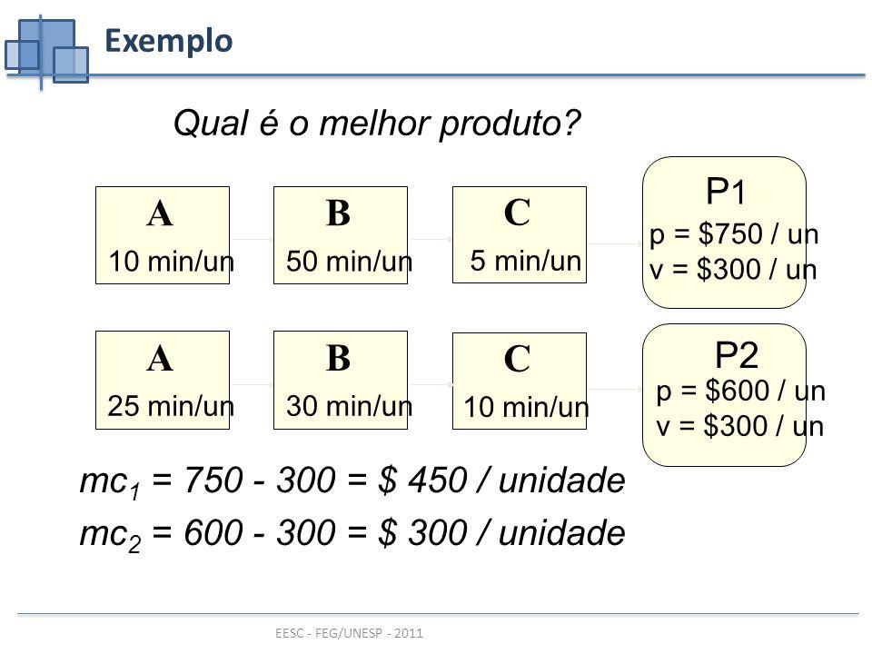 A B C P1 P2 Exemplo Qual é o melhor produto