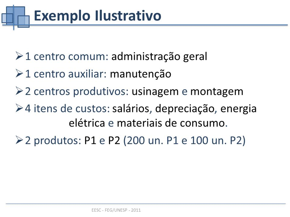 Exemplo Ilustrativo 1 centro comum: administração geral