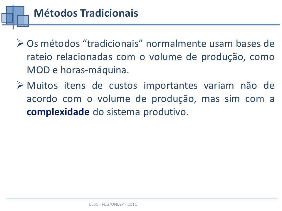 Métodos Tradicionais Os métodos tradicionais normalmente usam bases de rateio relacionadas com o volume de produção, como MOD e horas-máquina.