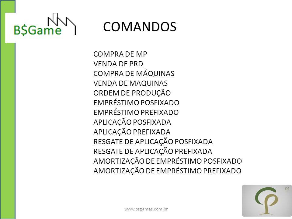 COMANDOS COMPRA DE MP VENDA DE PRD COMPRA DE MÁQUINAS