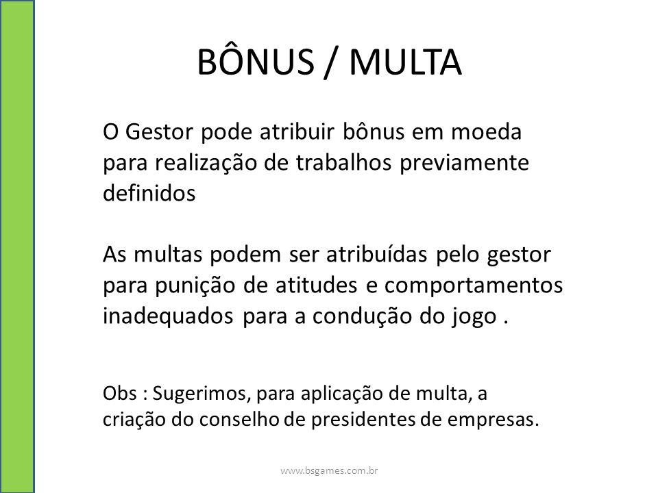 BÔNUS / MULTA O Gestor pode atribuir bônus em moeda para realização de trabalhos previamente definidos.