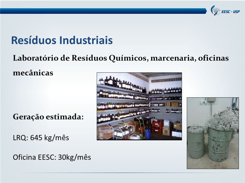 Resíduos Industriais Laboratório de Resíduos Químicos, marcenaria, oficinas mecânicas. Geração estimada: