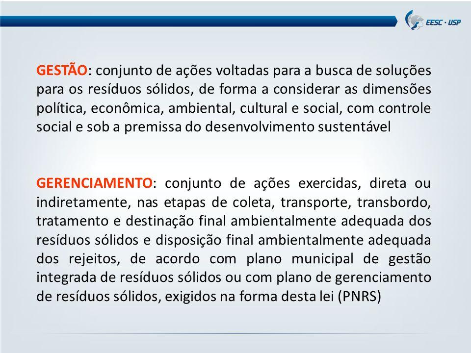 GESTÃO: conjunto de ações voltadas para a busca de soluções para os resíduos sólidos, de forma a considerar as dimensões política, econômica, ambiental, cultural e social, com controle social e sob a premissa do desenvolvimento sustentável