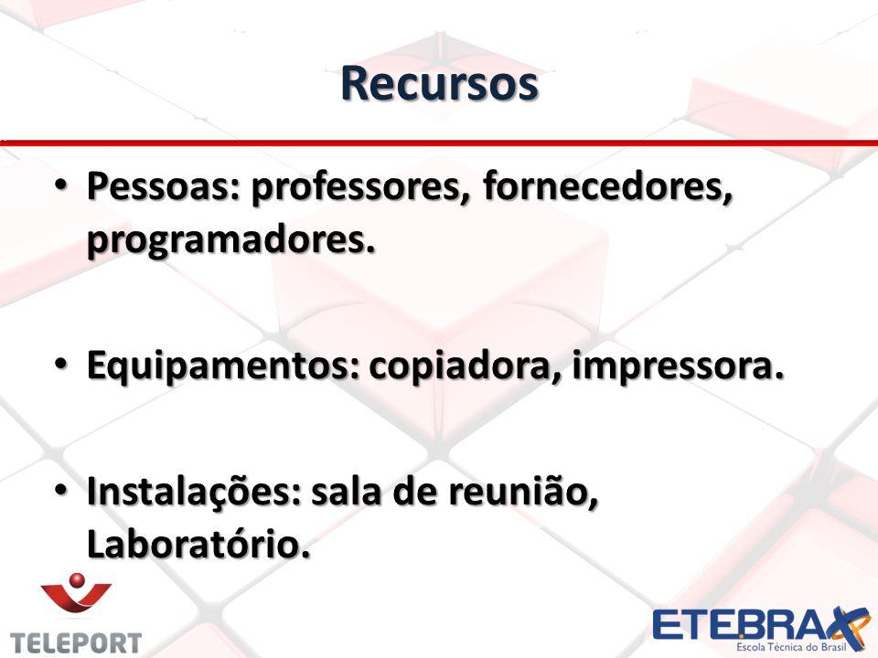 Recursos Pessoas: professores, fornecedores, programadores.
