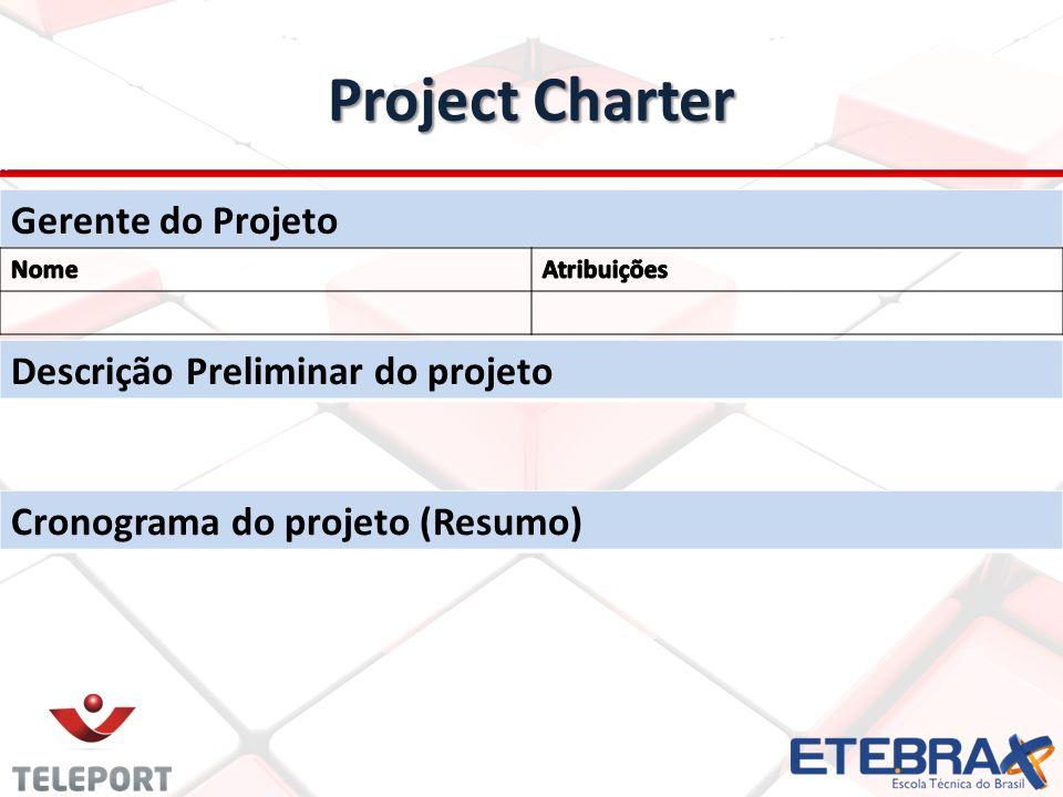 Project Charter Gerente do Projeto Descrição Preliminar do projeto