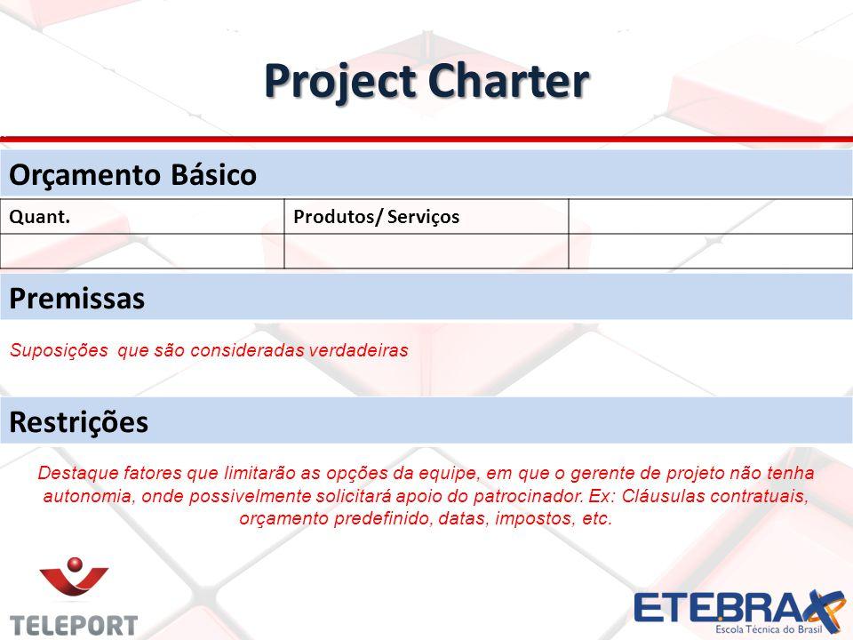 Project Charter Orçamento Básico Premissas Restrições Quant.