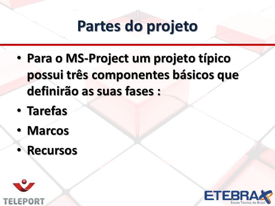 Partes do projeto Para o MS-Project um projeto típico possui três componentes básicos que definirão as suas fases :