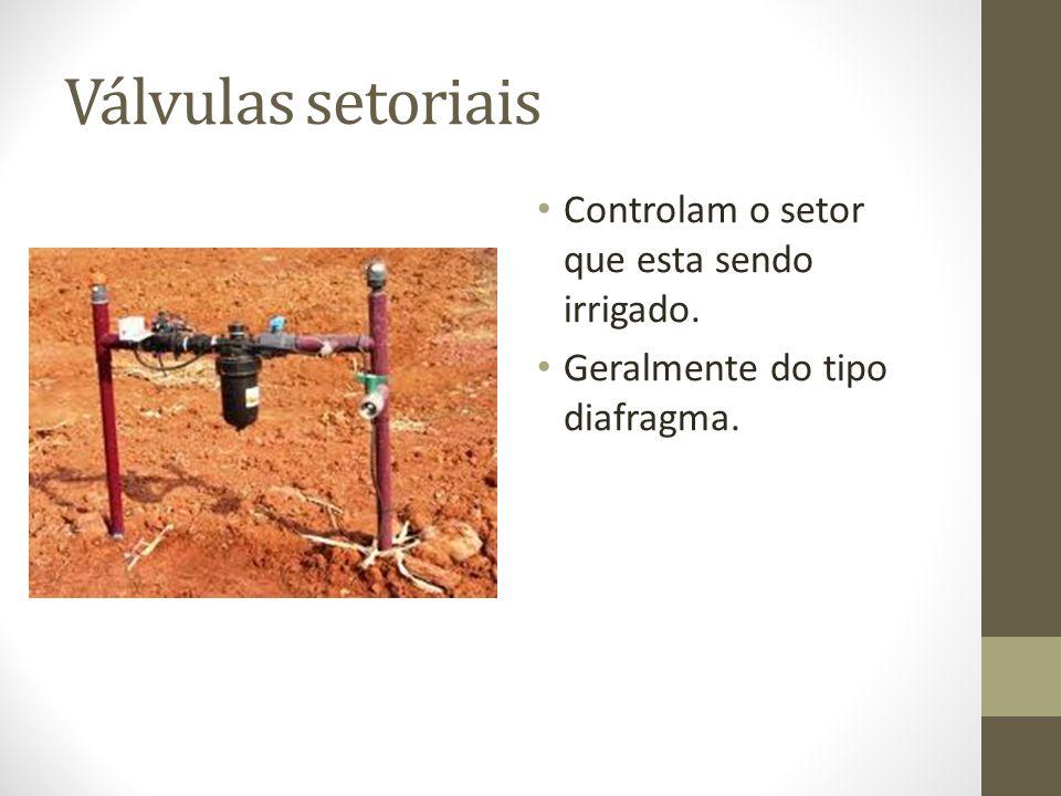 Válvulas setoriais Controlam o setor que esta sendo irrigado.