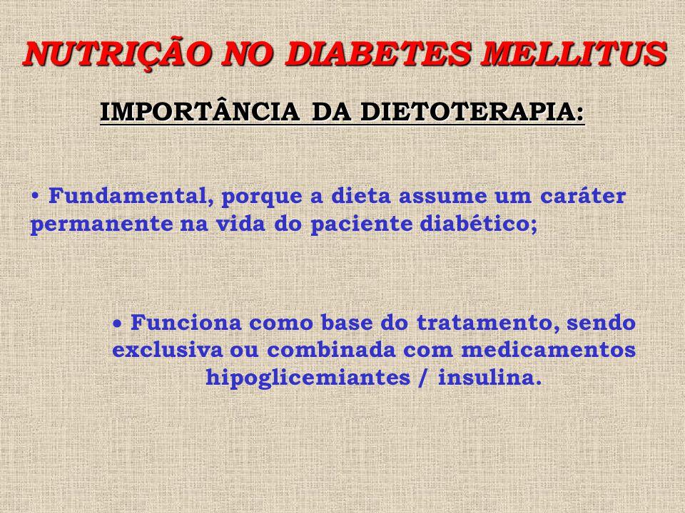 NUTRIÇÃO NO DIABETES MELLITUS IMPORTÂNCIA DA DIETOTERAPIA: