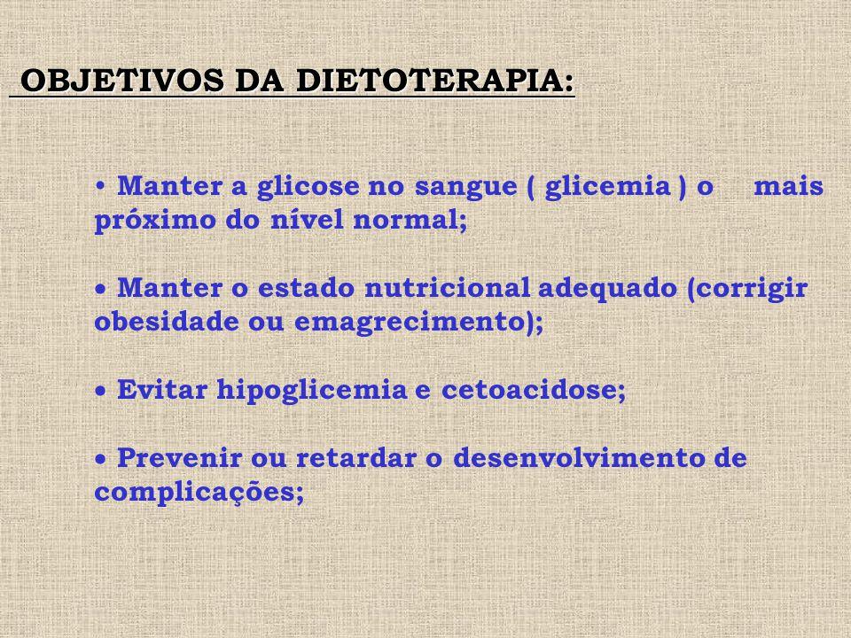 OBJETIVOS DA DIETOTERAPIA: