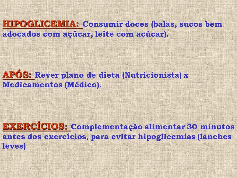 HIPOGLICEMIA: Consumir doces (balas, sucos bem adoçados com açúcar, leite com açúcar).