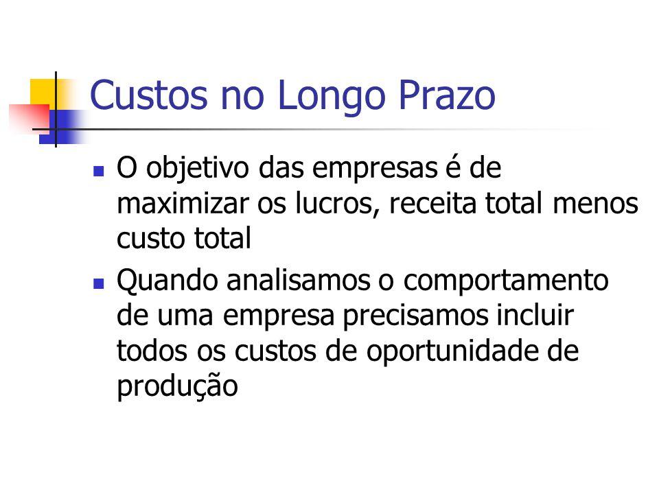 Custos no Longo Prazo O objetivo das empresas é de maximizar os lucros, receita total menos custo total.