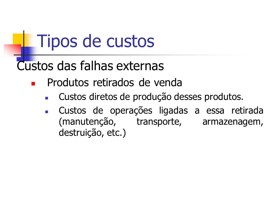 Tipos de custos Custos das falhas externas Produtos retirados de venda