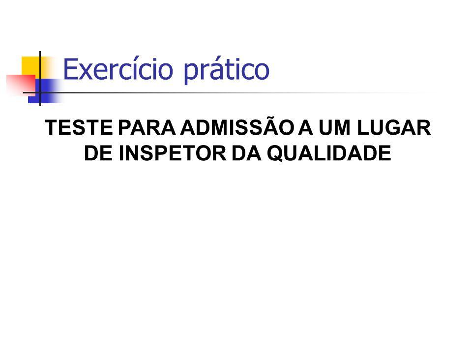 TESTE PARA ADMISSÃO A UM LUGAR DE INSPETOR DA QUALIDADE