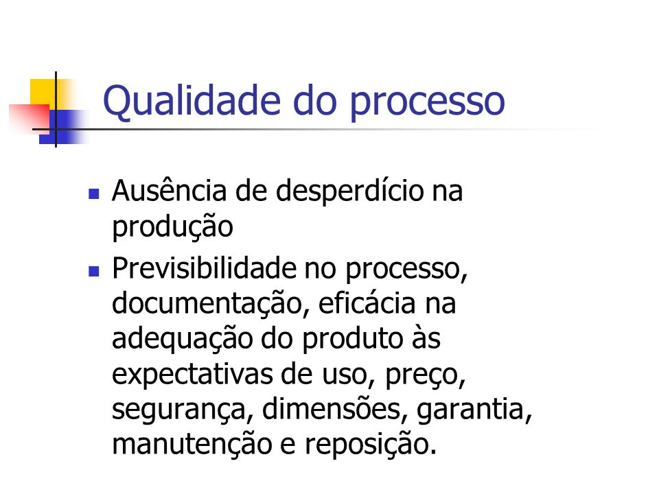 Qualidade do processo Ausência de desperdício na produção
