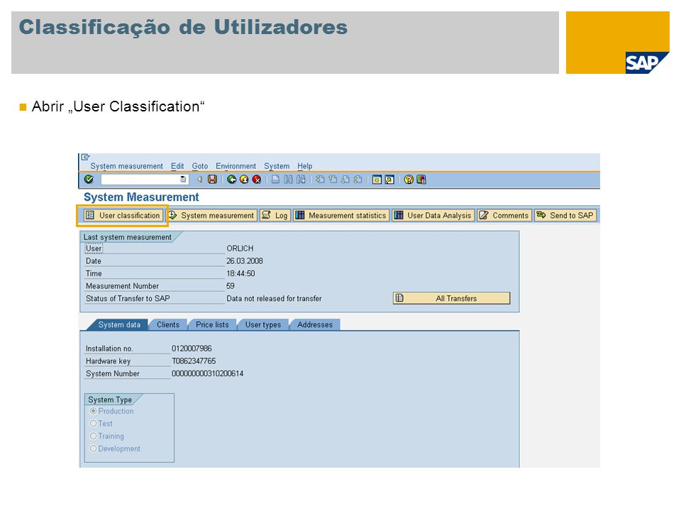 Classificação de Utilizadores