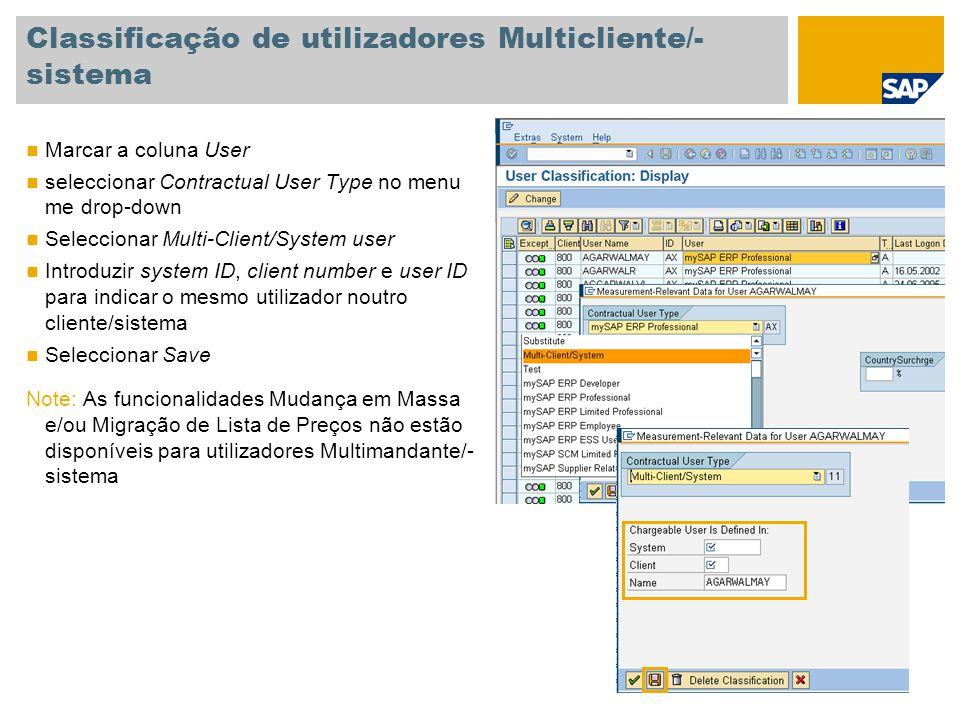 Classificação de utilizadores Multicliente/-sistema