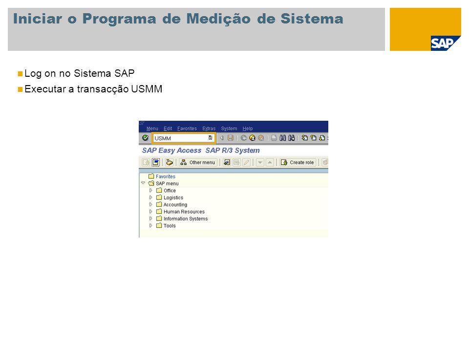 Iniciar o Programa de Medição de Sistema