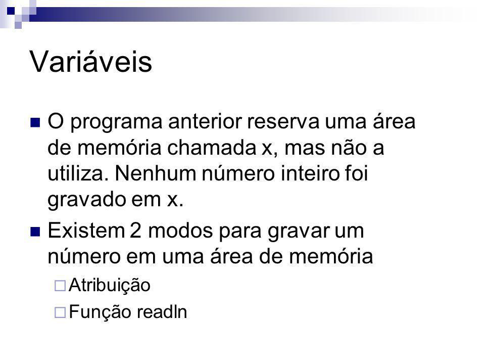 Variáveis O programa anterior reserva uma área de memória chamada x, mas não a utiliza. Nenhum número inteiro foi gravado em x.