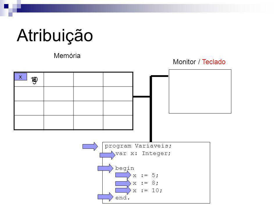Atribuição Memória Monitor / Teclado 10 8 5 x program Variaveis;