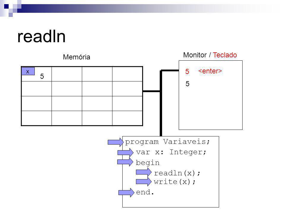 readln program Variaveis; var x: Integer; begin readln(x); write(x);