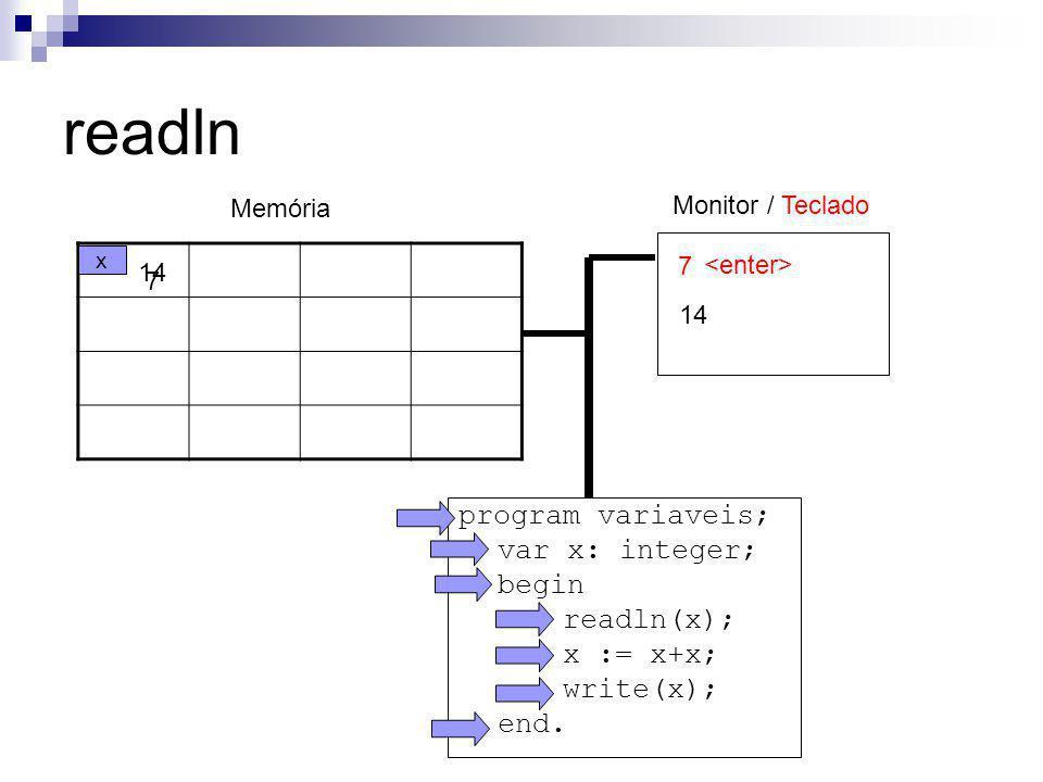 readln program variaveis; var x: integer; begin readln(x); x := x+x;