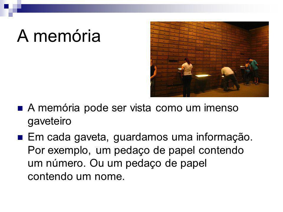 A memória A memória pode ser vista como um imenso gaveteiro