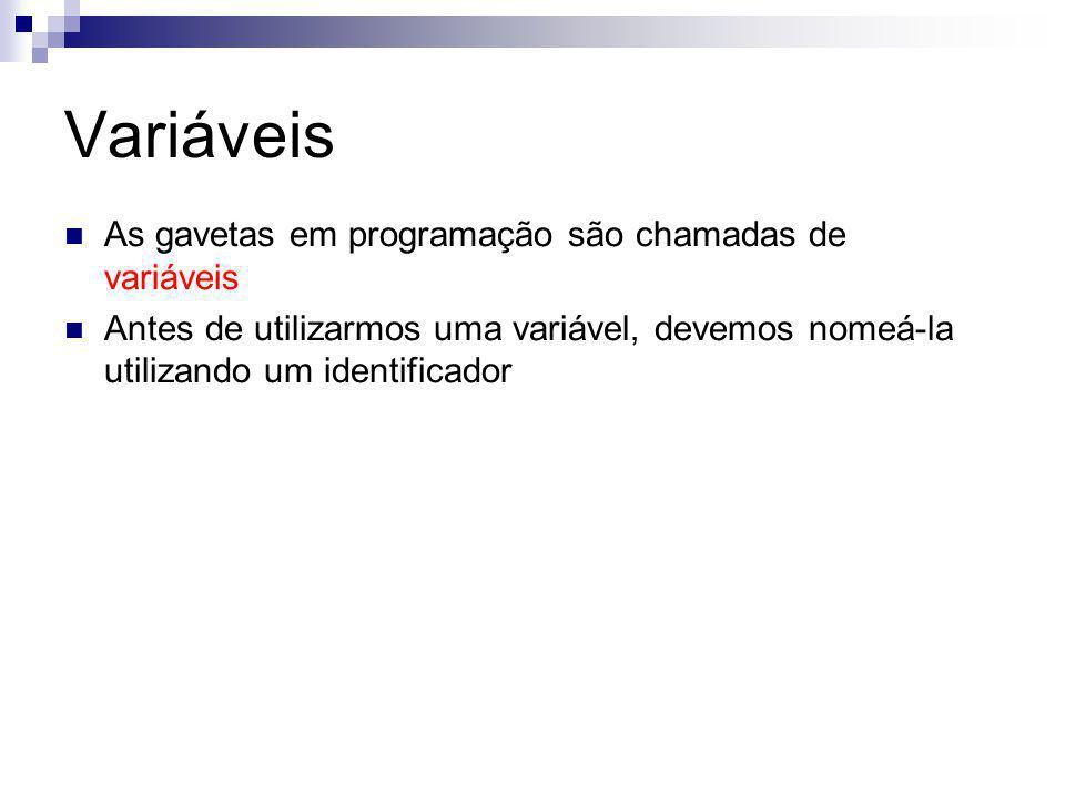 Variáveis As gavetas em programação são chamadas de variáveis