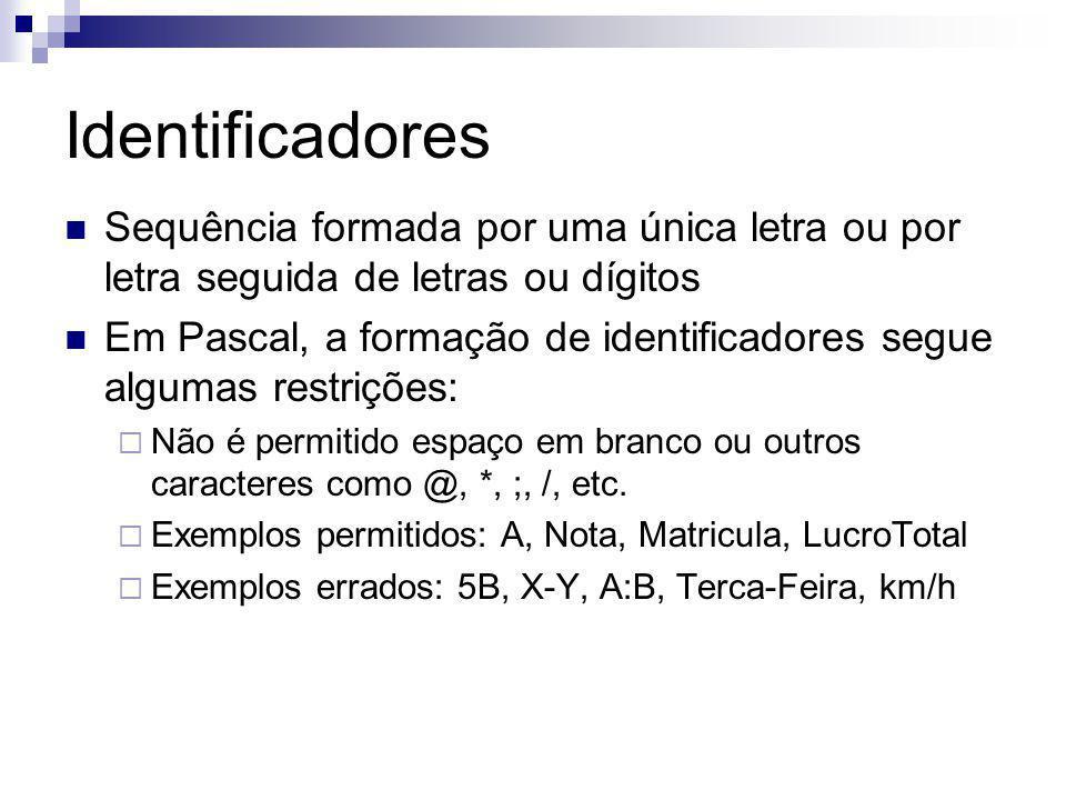 Identificadores Sequência formada por uma única letra ou por letra seguida de letras ou dígitos.