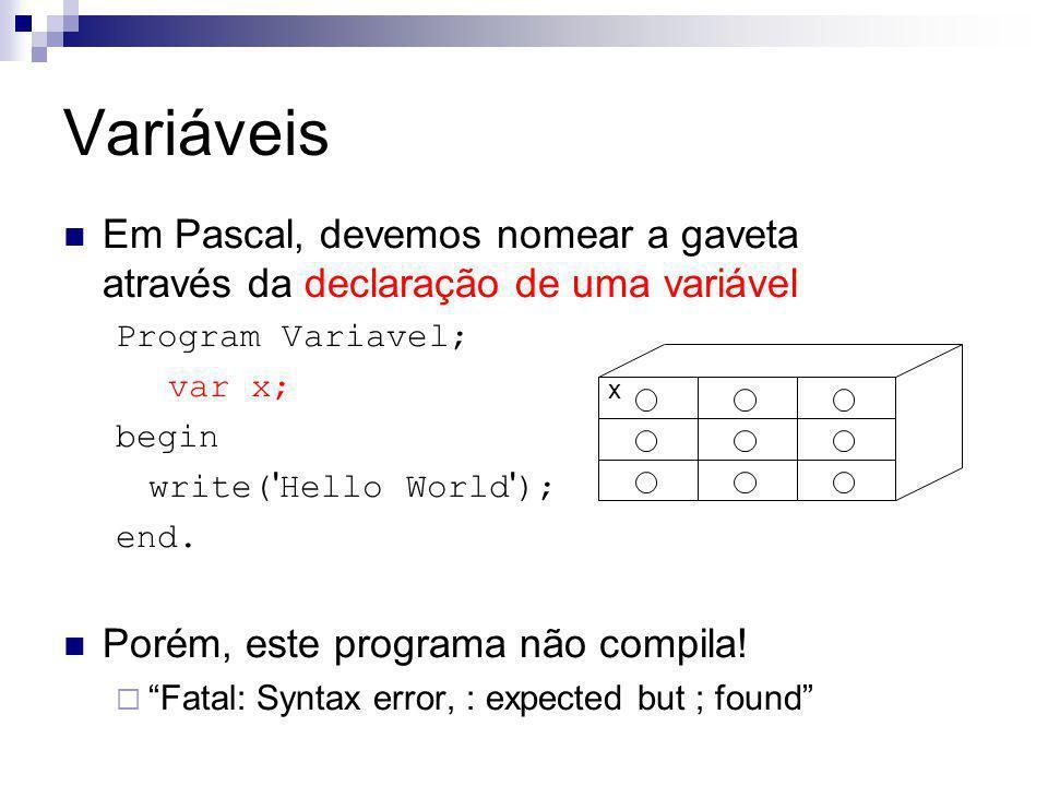 Variáveis Em Pascal, devemos nomear a gaveta através da declaração de uma variável. Program Variavel;