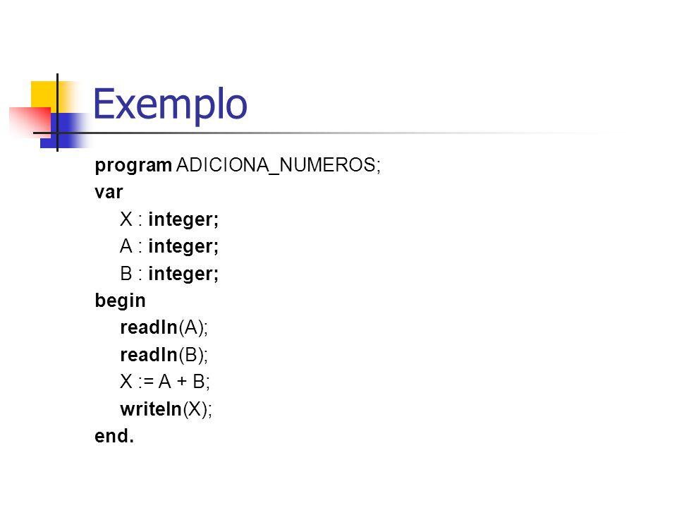 Exemplo program ADICIONA_NUMEROS; var X : integer; A : integer;