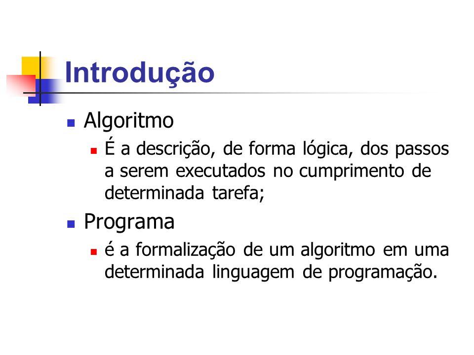 Introdução Algoritmo Programa