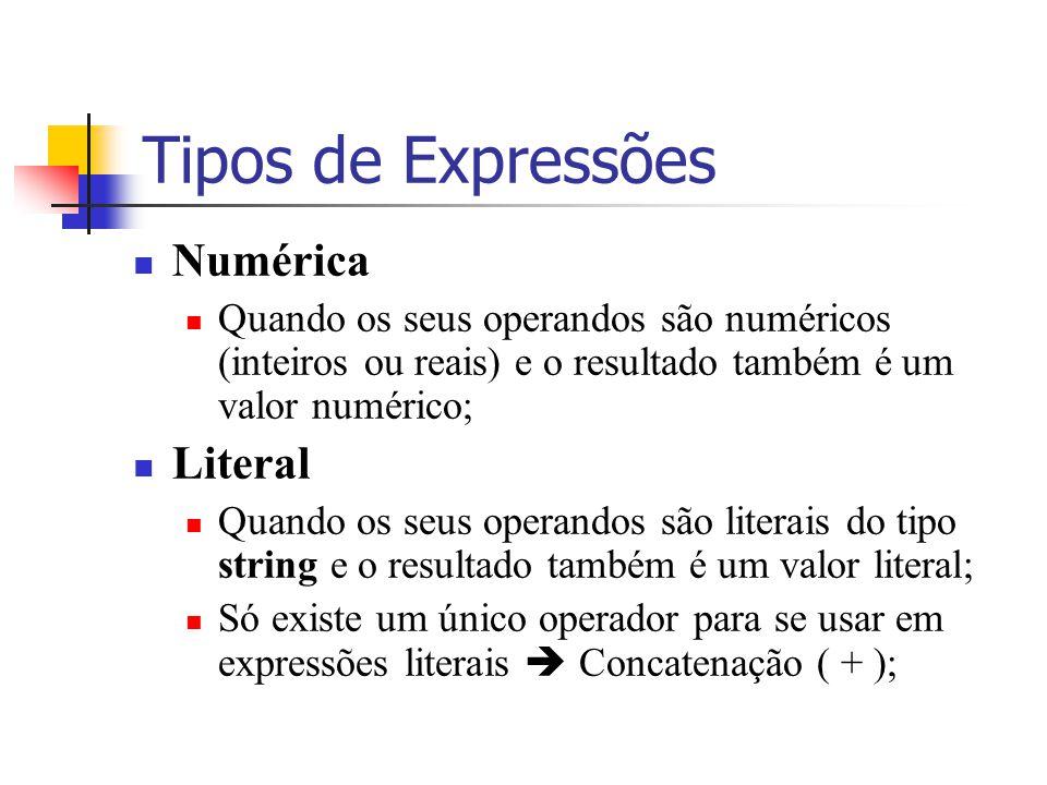 Tipos de Expressões Numérica Literal