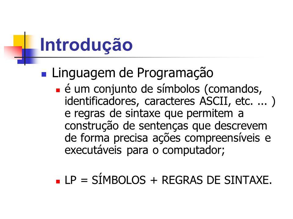 Introdução Linguagem de Programação